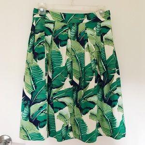 Banana Leaf Print Midi Skirt